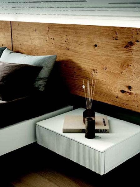 Mesilla de dormitorio de matrimonio 11a-0012 color blanco y roble vista de detalle