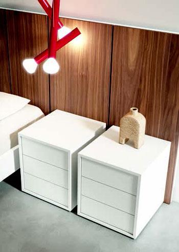 Mesillas y cabecero de dormitorio 11a-0013 color blanco y roble oscuro vista de detalle