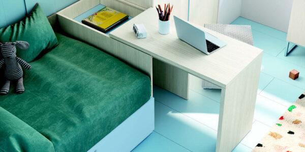 Escritorio de dormitorio infantil 12a-0006 color azul y beige vista de detalle