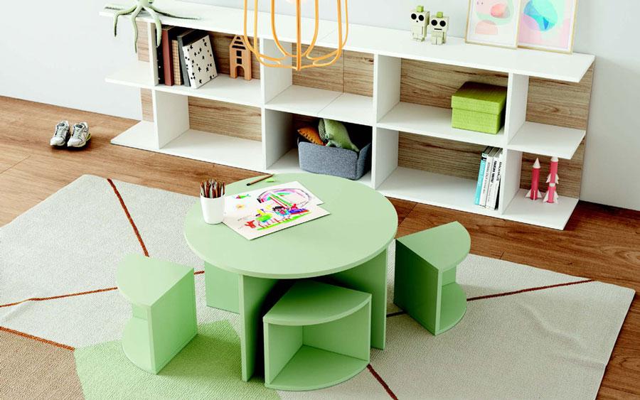 Muebles de dormitorio kids con literas 12e-0005 color verde y blanco vista de detalle