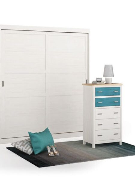 Muebles de dormitorio 11a-0034 color azul y blanco vista técnica