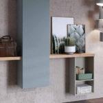 Recibidor 13c-0004 color azul con madera natural y verde vista de detalle