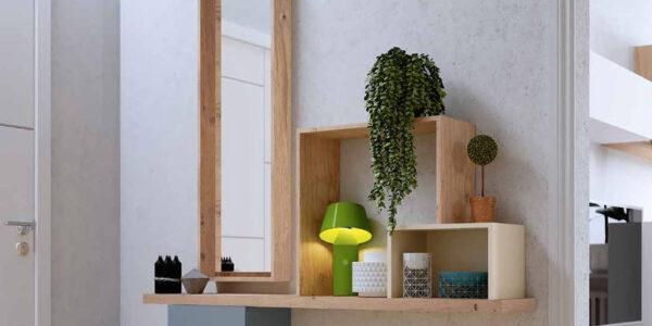 Recibidor 13c-0005 color azul madera natural y beige vista de detalle