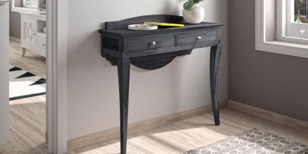 Recibidor 13d-0012 madera negra veteada con plateado vista de detalle
