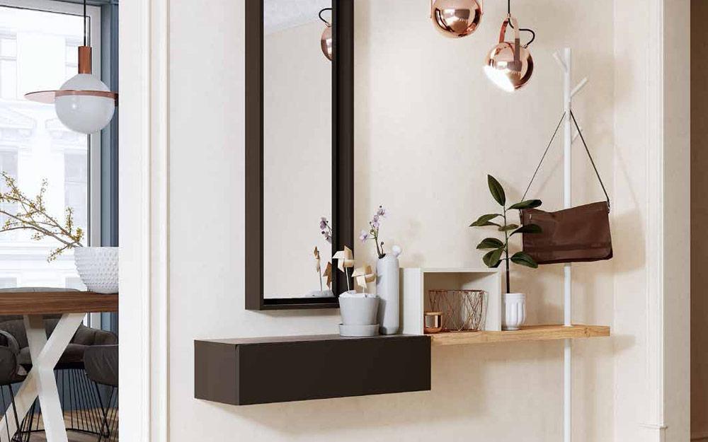 Recibidor con espejo 13c-0006 color marrón con blanco y madera natural