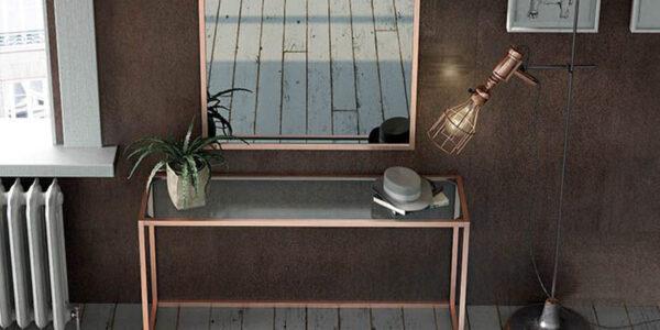 Recibidor con espejo 13c-0009 color cobre y cristal vista general