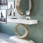 Recibidor con espejo 13c-0010 color blanco y dorado vista general
