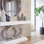 Recibidor con espejo 13c-0010 color blanco y plateado vista general