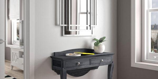 Recibidor con espejo geométrico 13d-0012 combinado negro con plateado vista de detalle