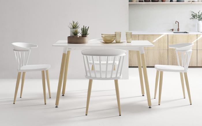Sillas de cocina 15c-0008 color blanco y madera vista ambiente