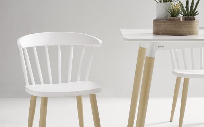 Sillas de cocina 15c-0008 color blanco y madera vista frontal