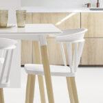 Sillas de cocina 15c-0008 color blanco y madera vista lateral