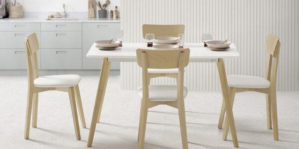 Sillas de cocina 15c-0009 color blanco y madera vista ambiente