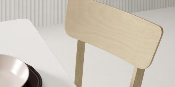 Sillas de cocina 15c-0009 color blanco y madera vista de detalle