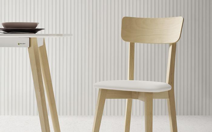 Sillas de cocina 15c-0009 color blanco y madera vista frontal