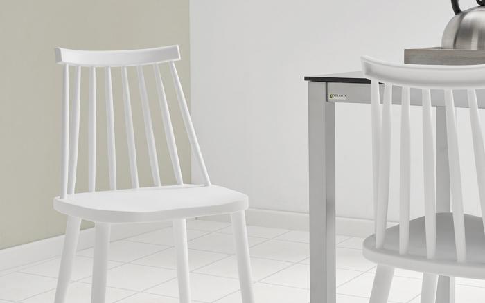 Sillas de cocina 15c-0010 color blanco vista frontal