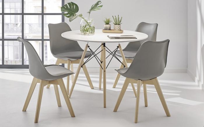 Sillas de cocina 15c-0011 color gris y madera vista ambiente