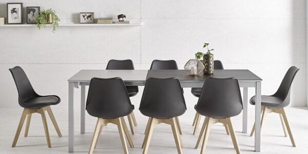 Sillas de cocina 15c-0011 color negro y madera vista frontal