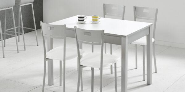 Sillas de cocina 15c-0012 color gris y blanco vista ambiente