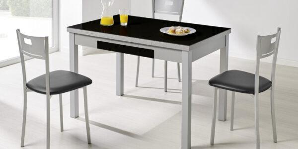 Sillas de cocina 15c-0012 color gris y negro vista ambiente