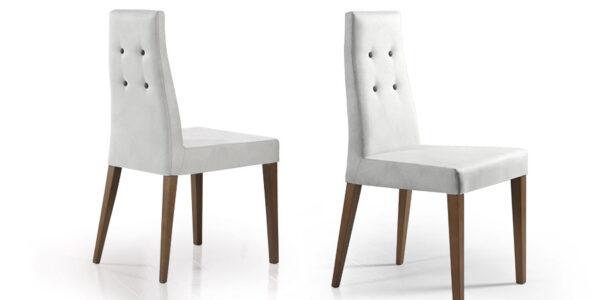 Sillas de comedor 14f-0006 color blanco y madera vistas