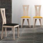 Silla de comedor 14f-0009 madera y negro y amarillo vista ambiente