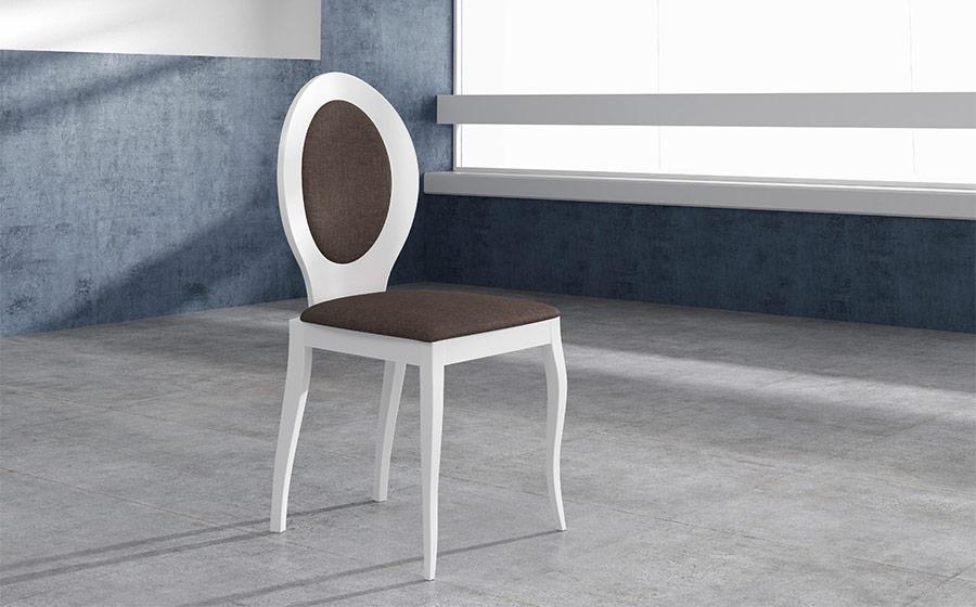 Sillas de comedor 14f-0019 color blanco y marrón vista ambiente