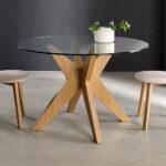 Sillas y mesa de comedor redonda 14f-0012 madera y cristal vista ambiente