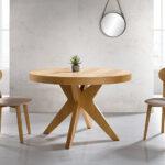 Sillas y mesa de comedor redonda 14f-0012 madera vista ambiente