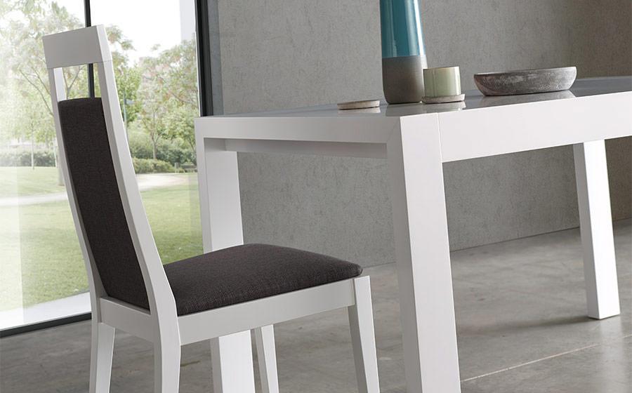 Silla de comedor 14f-0016 color blanco y negro vista de ambiente detalle