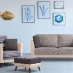 Sofá 2-3 plazas 10d-0005 color beige y azul vista ambiente de colección