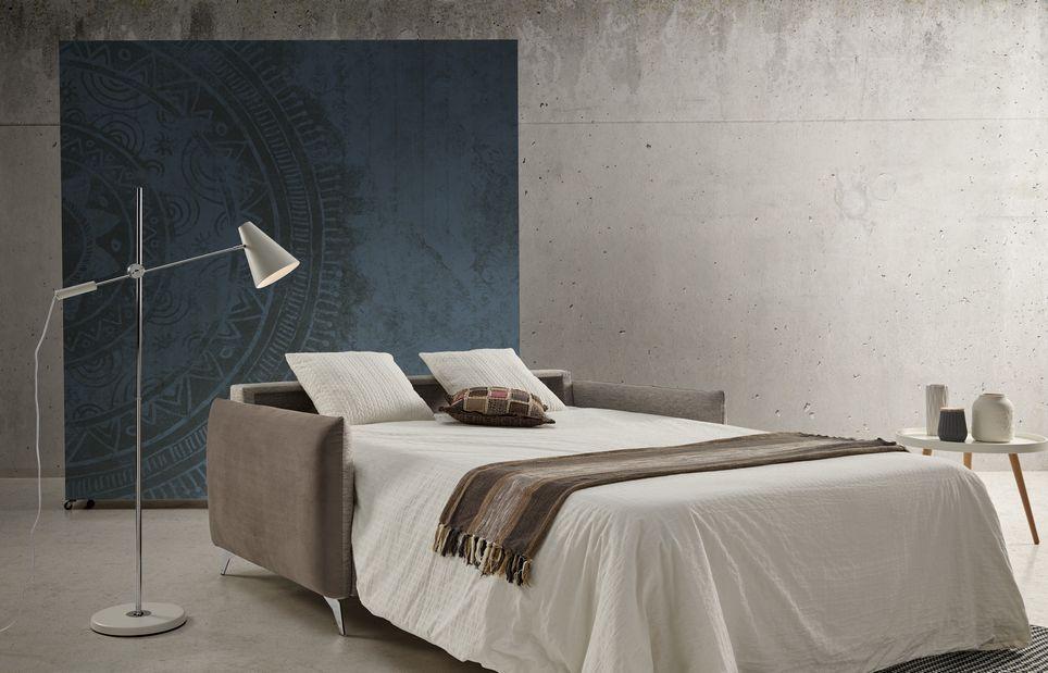 Sofá cama 2-3 plazas 10e-0005 color beige vista detalle de la cama