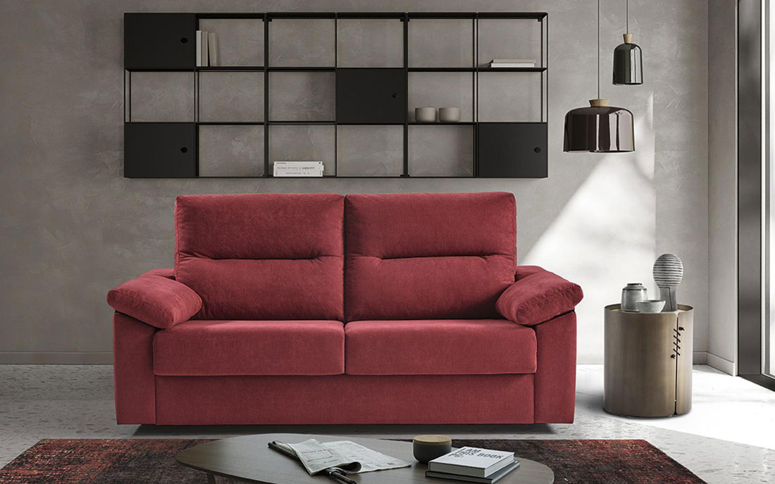 Sofá cama 2-3 plazas 10e-0002 color rojo vista de ambiente