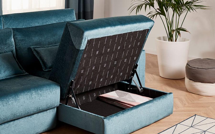 Sofá cama 2-3 plazas 10e-0007 color verde vista de detalle arcón en asiento