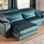 Sofá Cama 2-3 plazas 10e-0007 color verde vista de detalle de asiento deslizante