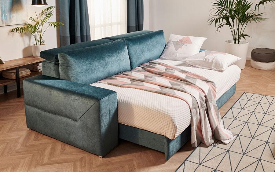 Sofá Cama de 2-3 plazas 10e-0007 color verde vista de detalle de cama