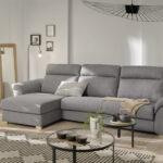 Sofá cama chaise longue 10e-0006 color gris vista ambiente