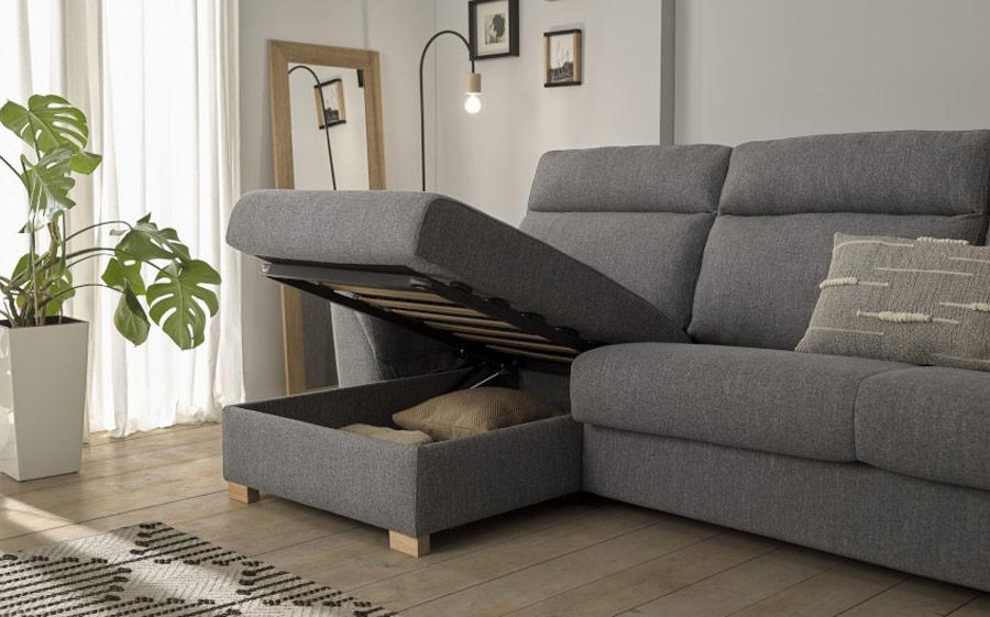 Sofá cama chaise longue 10e-0006 color gris vista detalle de arcón