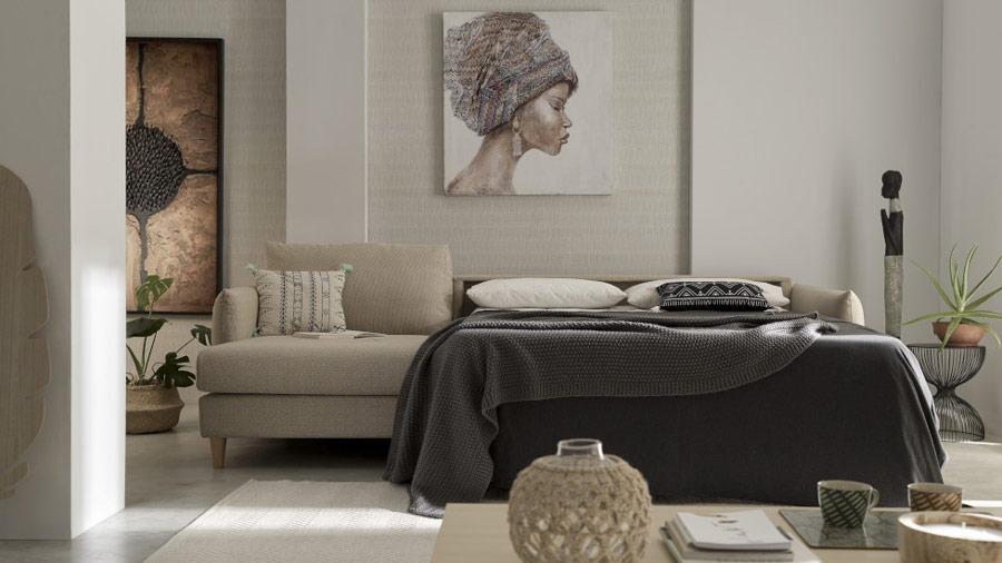 Sofá cama chaiselongue 10e-0005 color beige vista detalle de la cama
