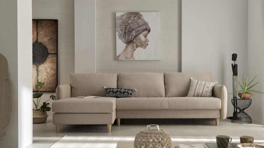 Sofá cama chaiselongue 10e-0005 color beige vista ambiente