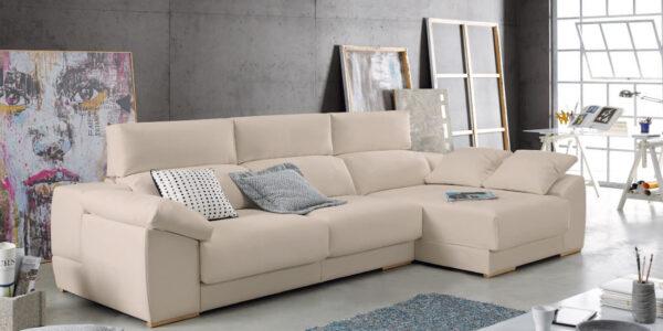 Sofá chaise longue 10b-0004 color beige vista ambiente