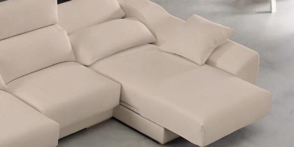 Sofá chaise longue 10b-0004 color beige vista detalle sofá abierto