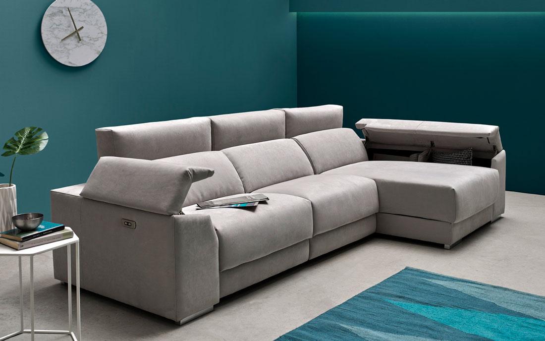 Sofá chaise longue 10b-0007 color gris vista detalle brazos arcón