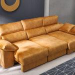 Sofá chaise longue 10b-0008 color naranja detalle de asientos deslizantes