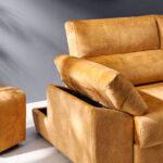 Sofá chaise longue 10b-0008 color naranja detalle de brazo arcón