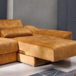 Sofá chaise longue 10b-0008 color naranja detalle de asiento deslizante