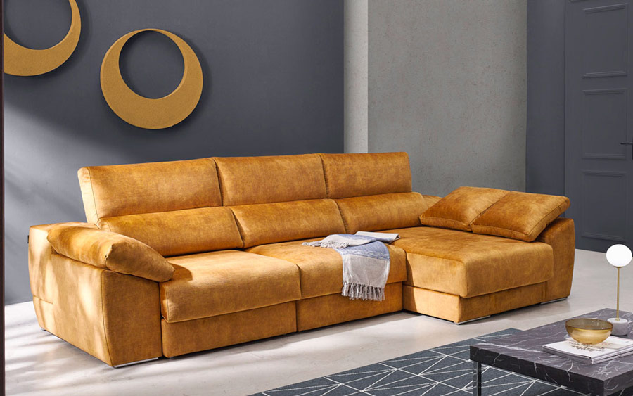 Sofá chaise longue 10b-0008 color naranja vista ambiente