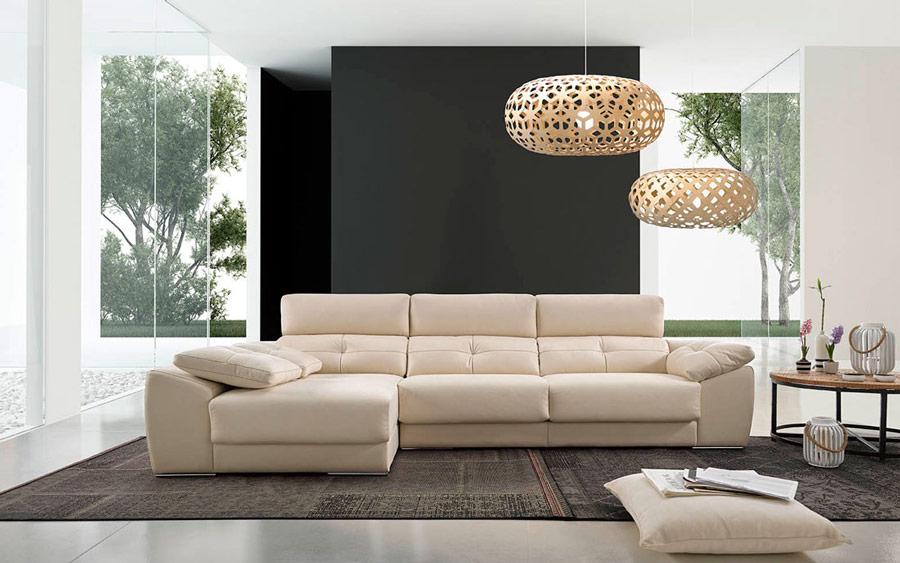 Sofá chaise longue 10b-0009 color beige vista ambiente