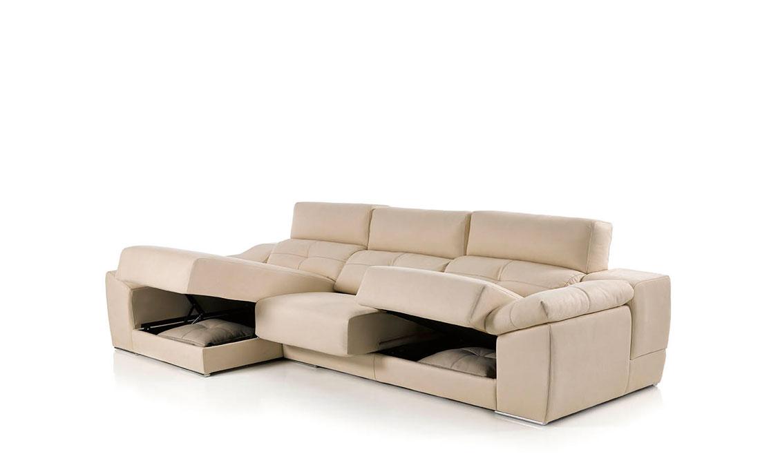 Sofá chaise longue 10b-0009 color beige detalle técnico asientos arcón