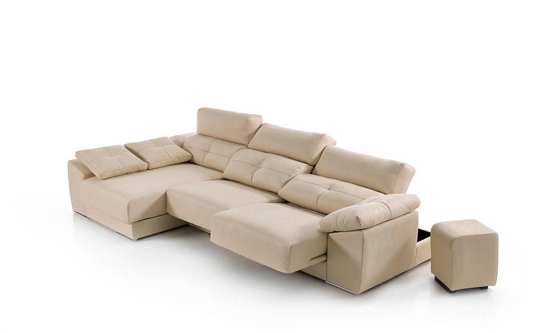 Sofá chaise longue 10b-0009 color beige detalle técnico deslizante